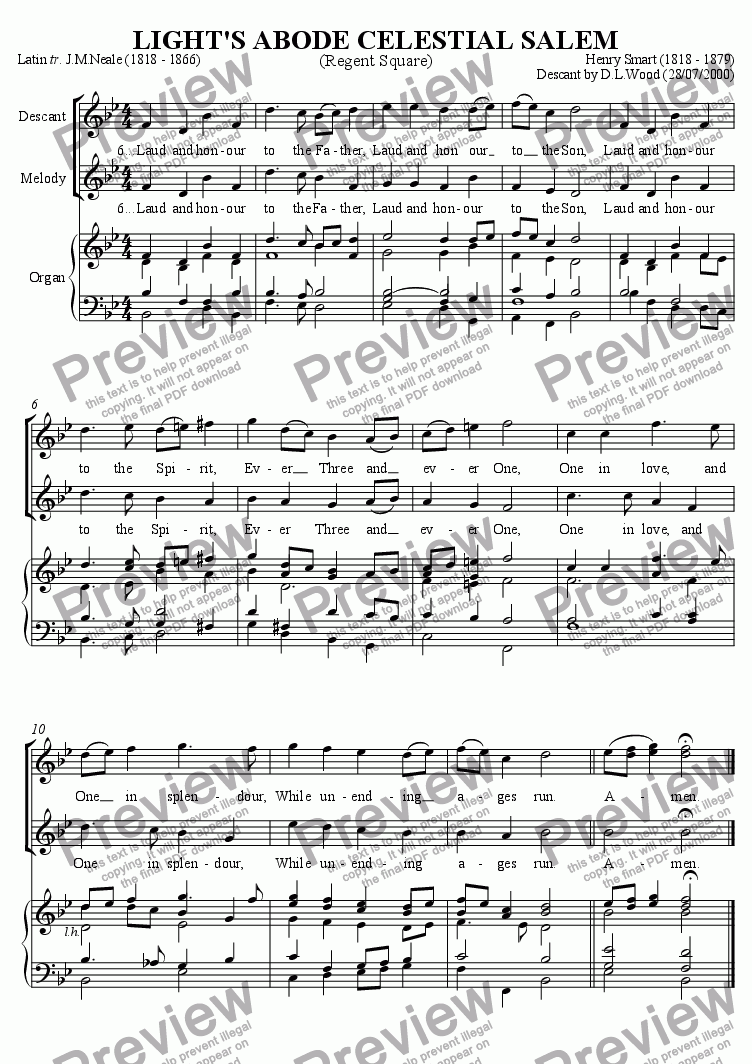page one of Descant To Light's Abode Celestial Salem