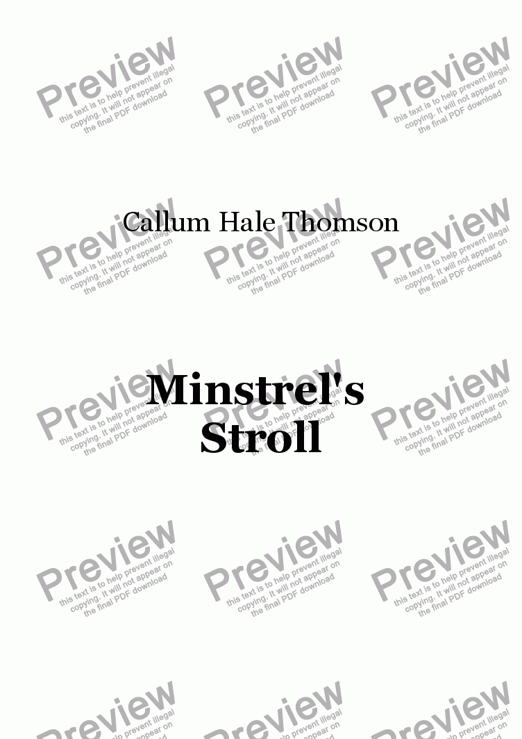 page one of Minstrel's Stroll