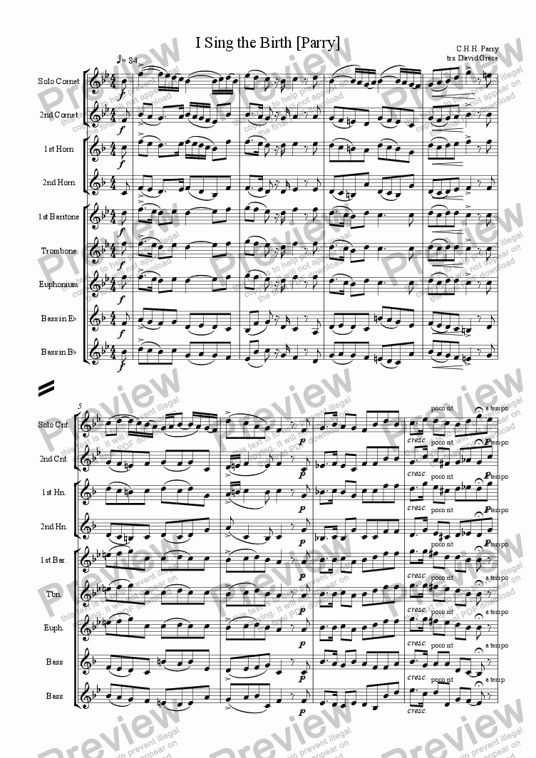 page one of I Sing the Birth [Parry]