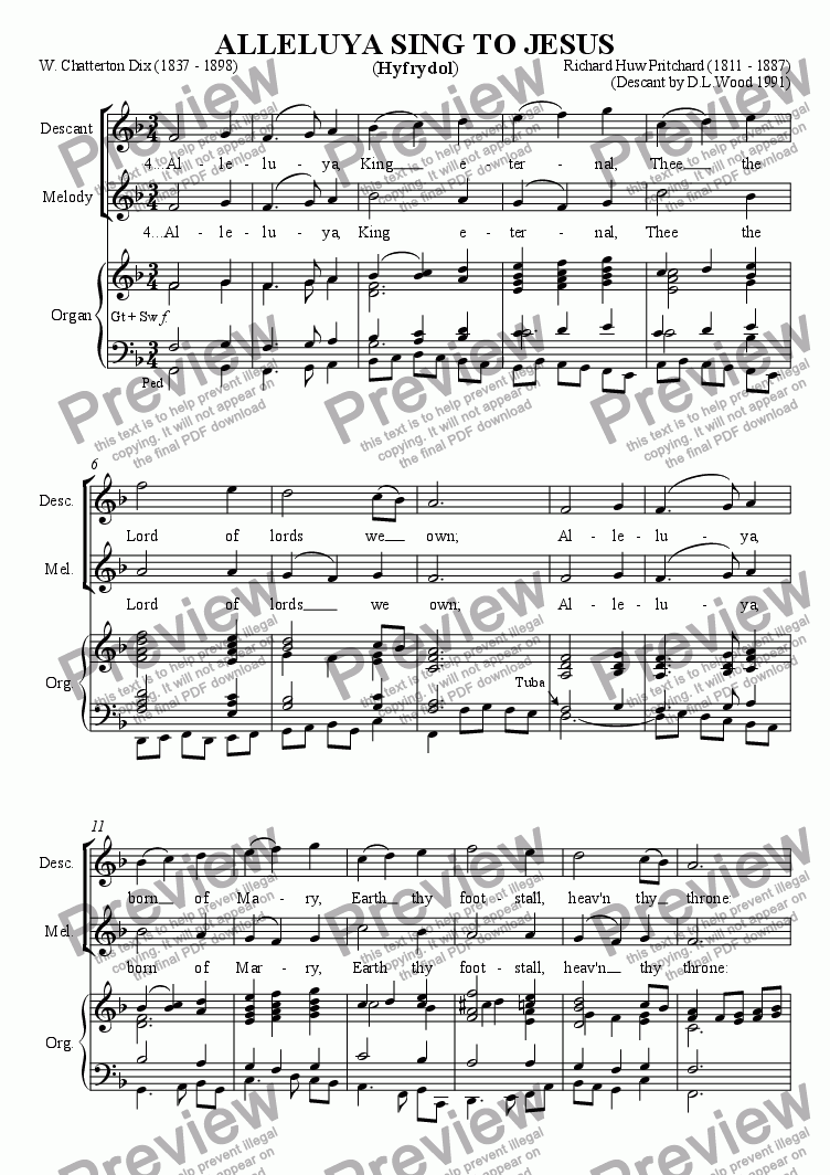 page one of Descant To Alleluya Sing To JesusASALTTEXT
