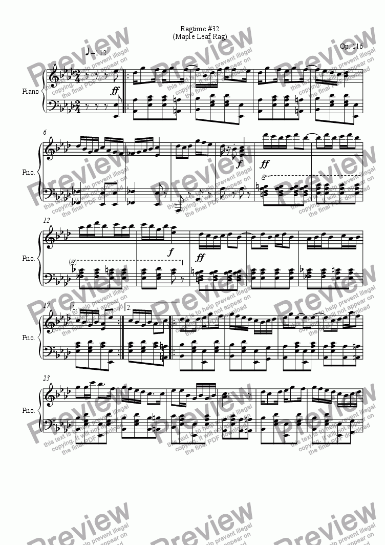 page one of 116, Maple Leaf Rag