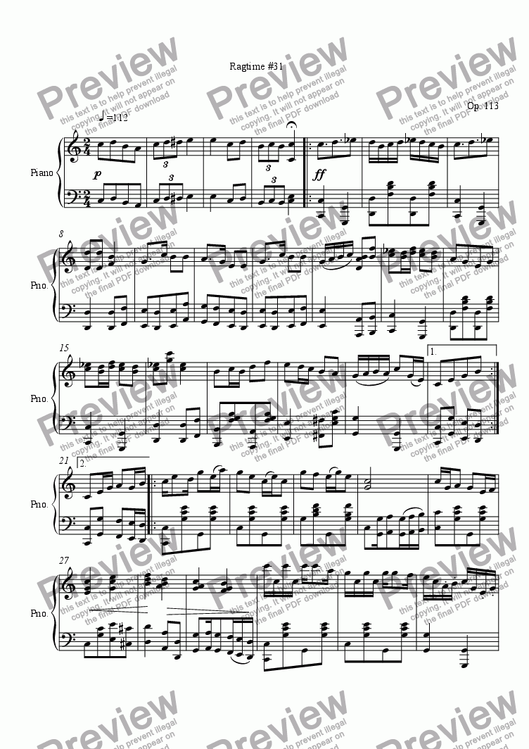 page one of Ragtime #31 in C Major
