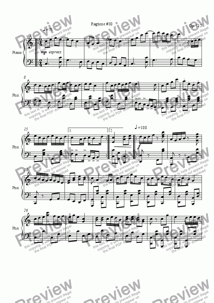 page one of Ragtime #30 in C Major