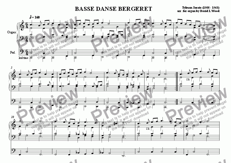 page one of Basse Danse De Bergeret (Transcribed For Organ)