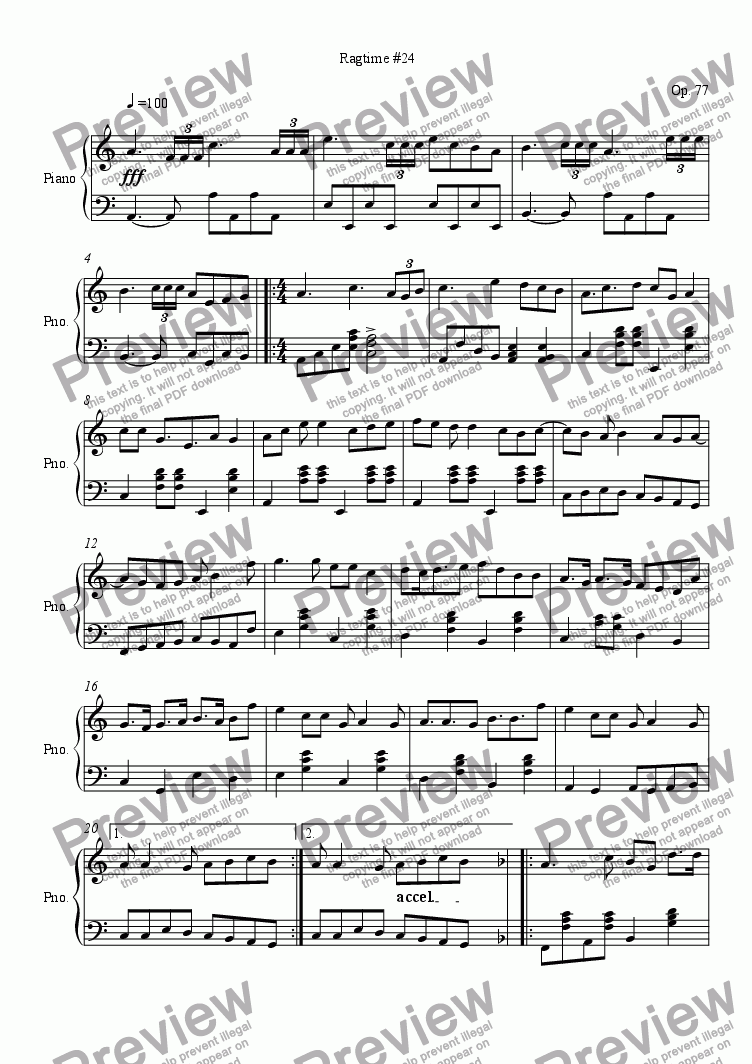 page one of Ragtime #23 in D Minor