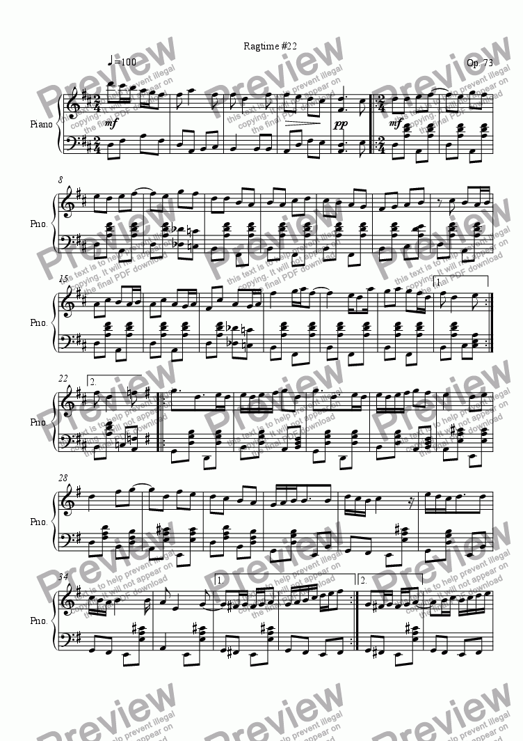 page one of Ragtime #22 in D Major