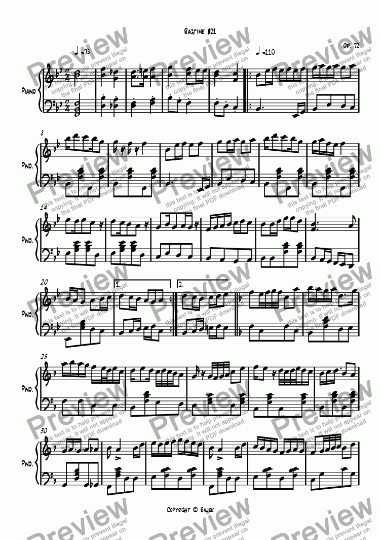 page one of Ragtime #21 in B Flat Major