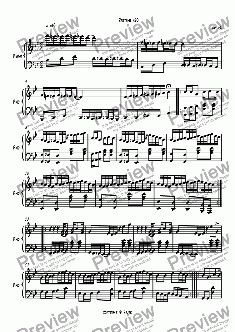 page one of Ragtime #20 in B Flat Major