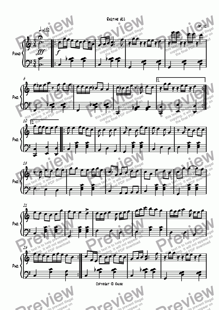 page one of Ragtime #18 in C Major