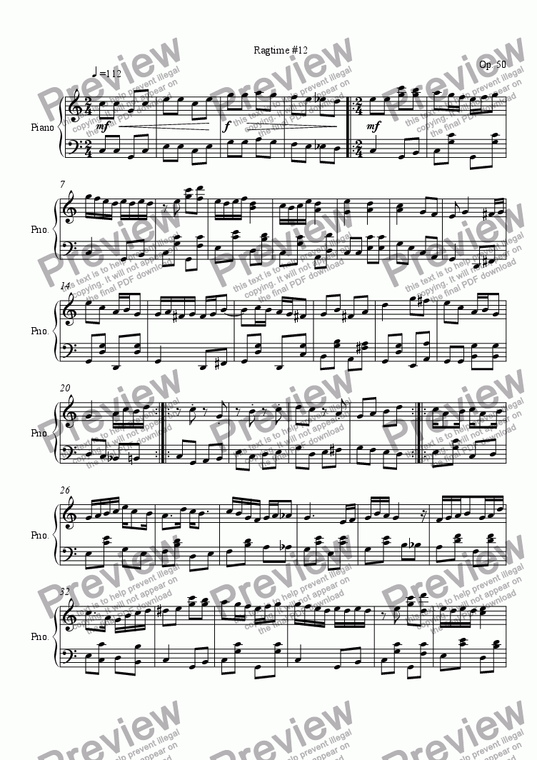 page one of Ragtime #12 in F Sharp Major