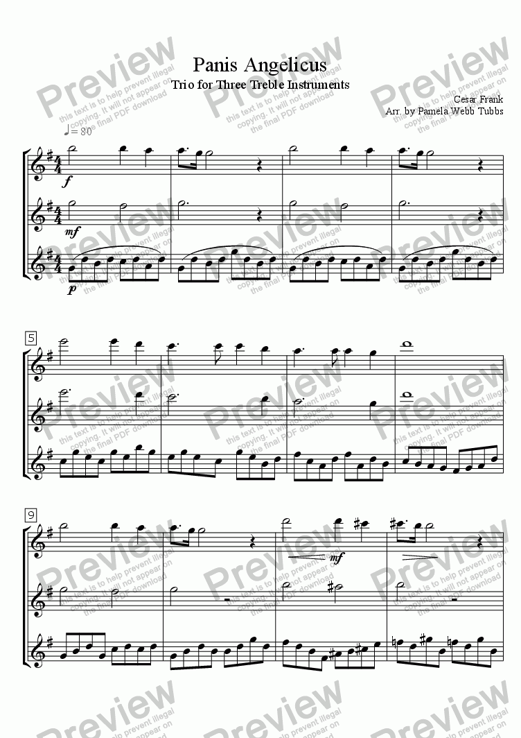 page one of Panis Angelicus (FRANCK) for Mixed Ensemble Trio (3-part treble instruments, e.g., oboe, flute, violin), arr. by Pamela Webb Tubbs