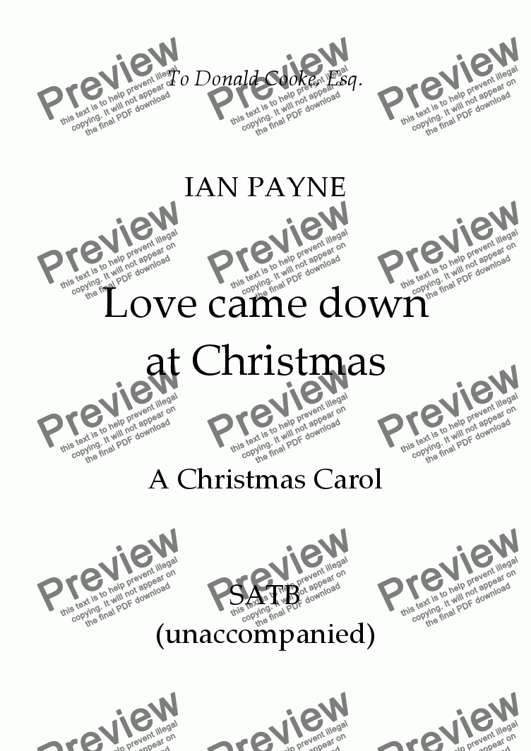 Love Came Down At Christmas.Love Came Down At Christmas With Organ For Choir By Ian Payne Sheet Music Pdf File To Download