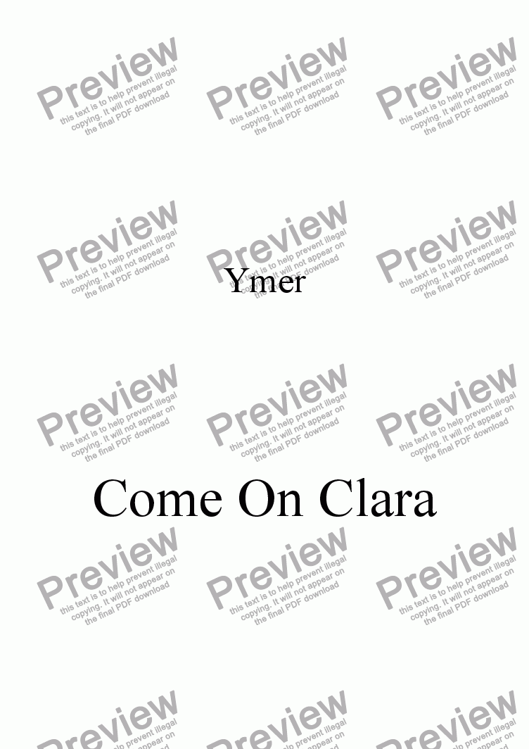 page one of Come On Clara