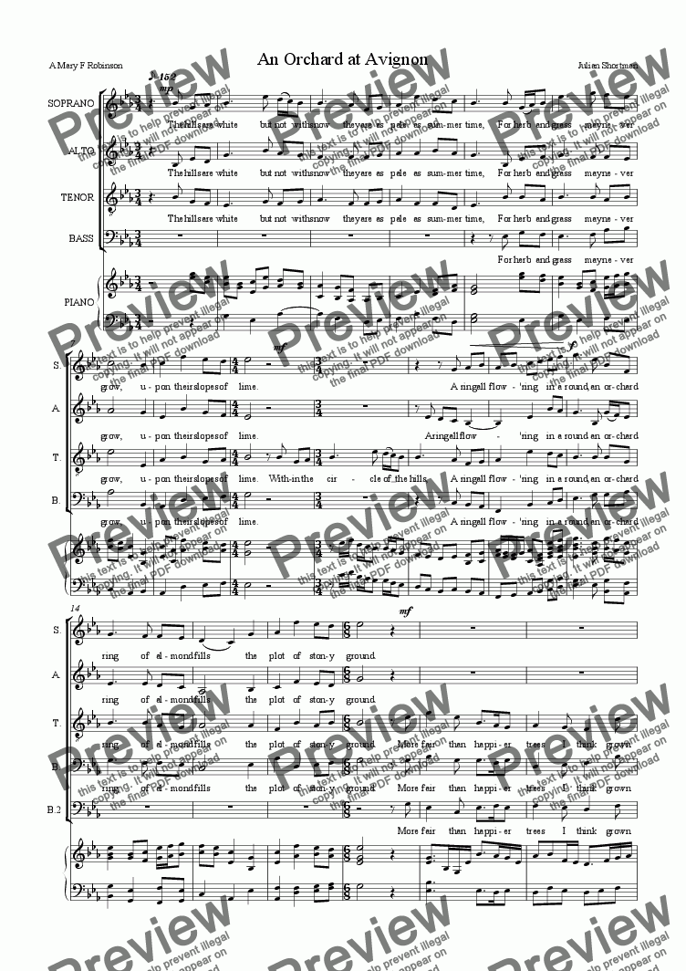 page one of An Orchard at Avignon - choral choir SATB