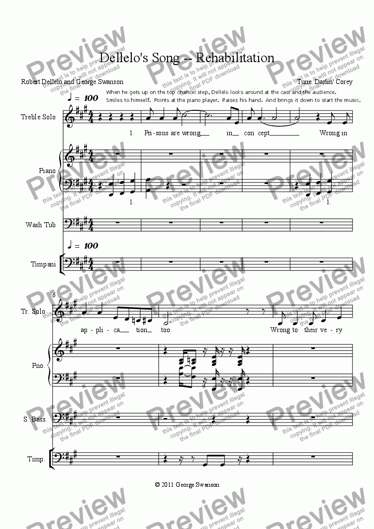 page one of Dellelo's Song -- Rehabilitation