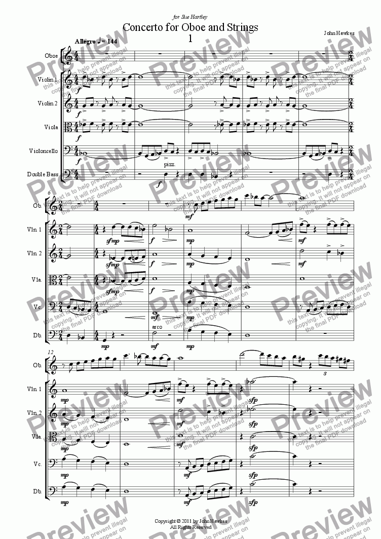 page one of Concerto for Oboe and Strings