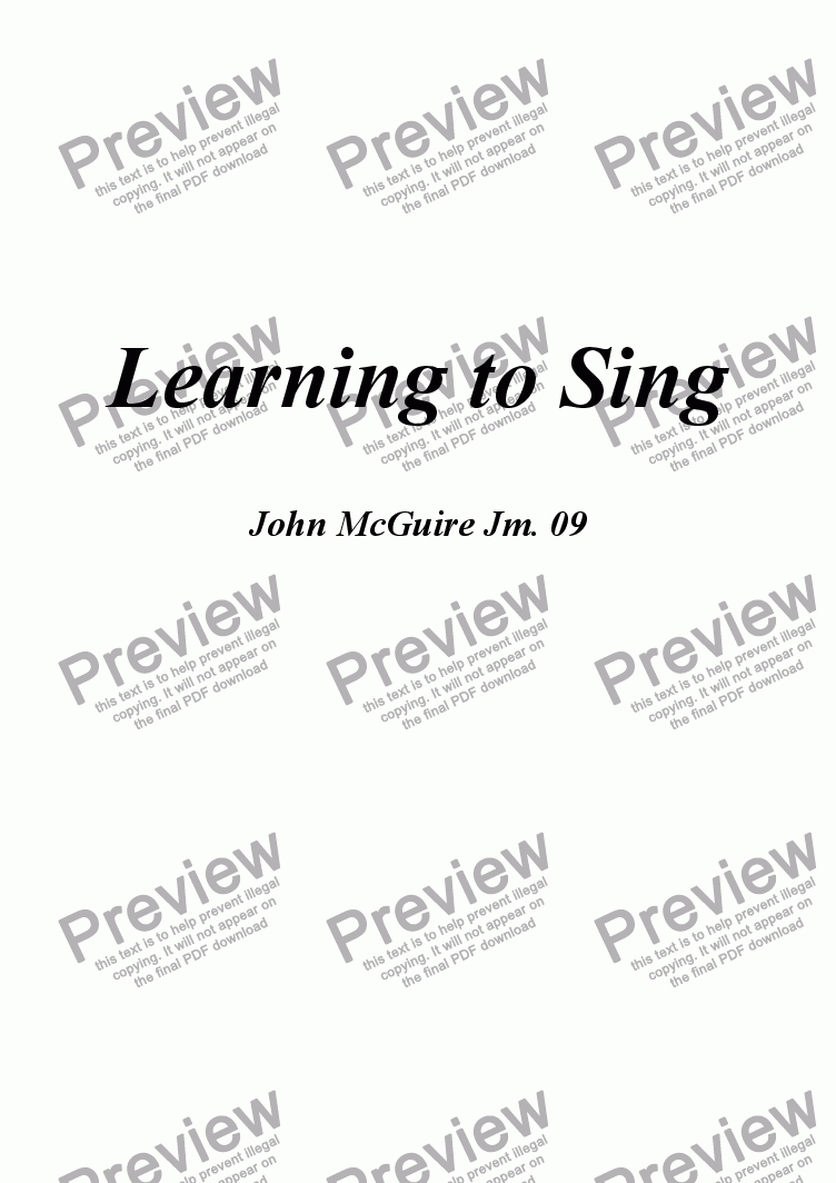 page one of Learning to Sing