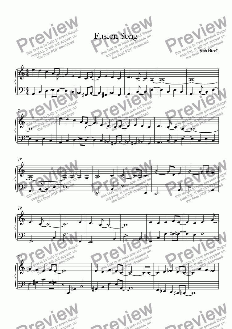 page one of Fusion Song