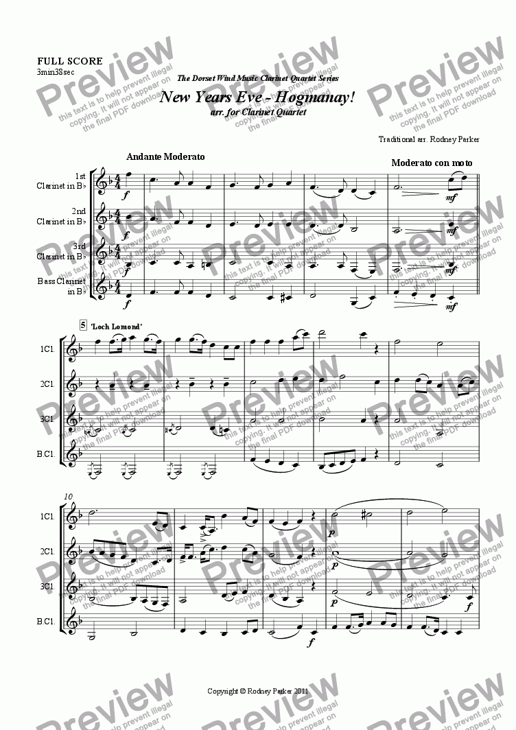 page one of New Years Eve - Hogmanay! arr. for Clarinet Quartet