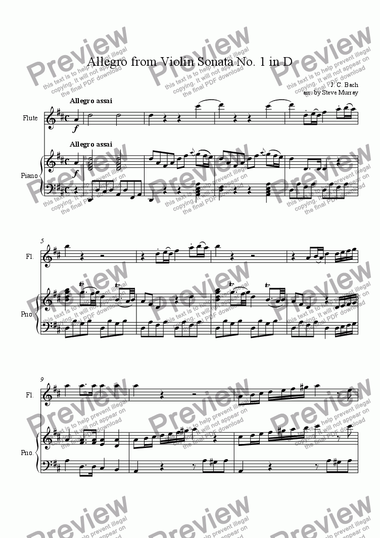page one of Allegro from Violin Sonata No. 1 in D for Flute