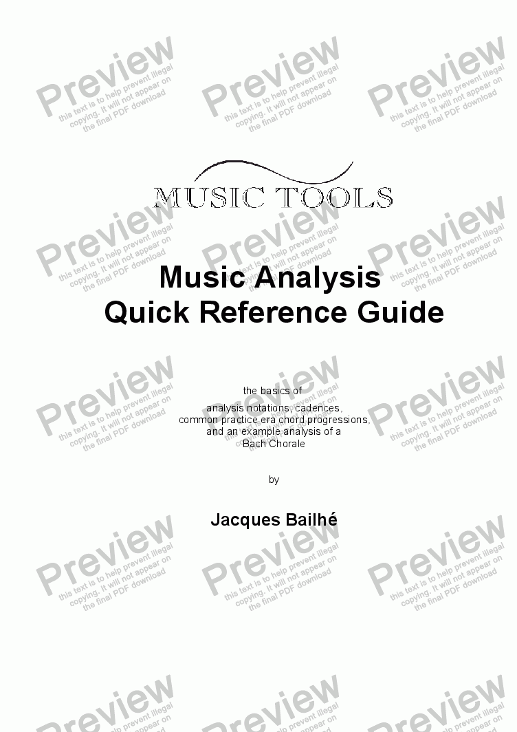 page one of Music Analysis Quick Reference