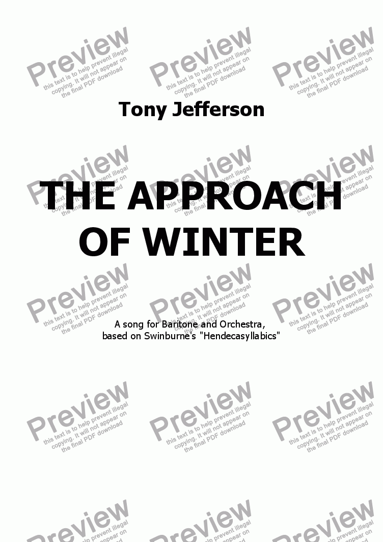 page one of The approach of winter (Baritone & Orchestra)