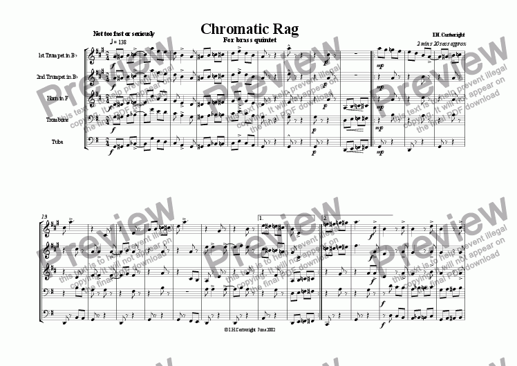 page one of Chromatic  Rag for brass quintet