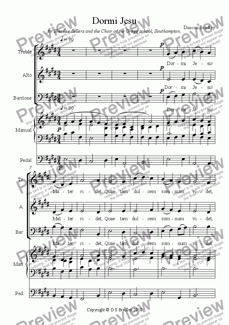 page one of Dormi Jesu (SAB)