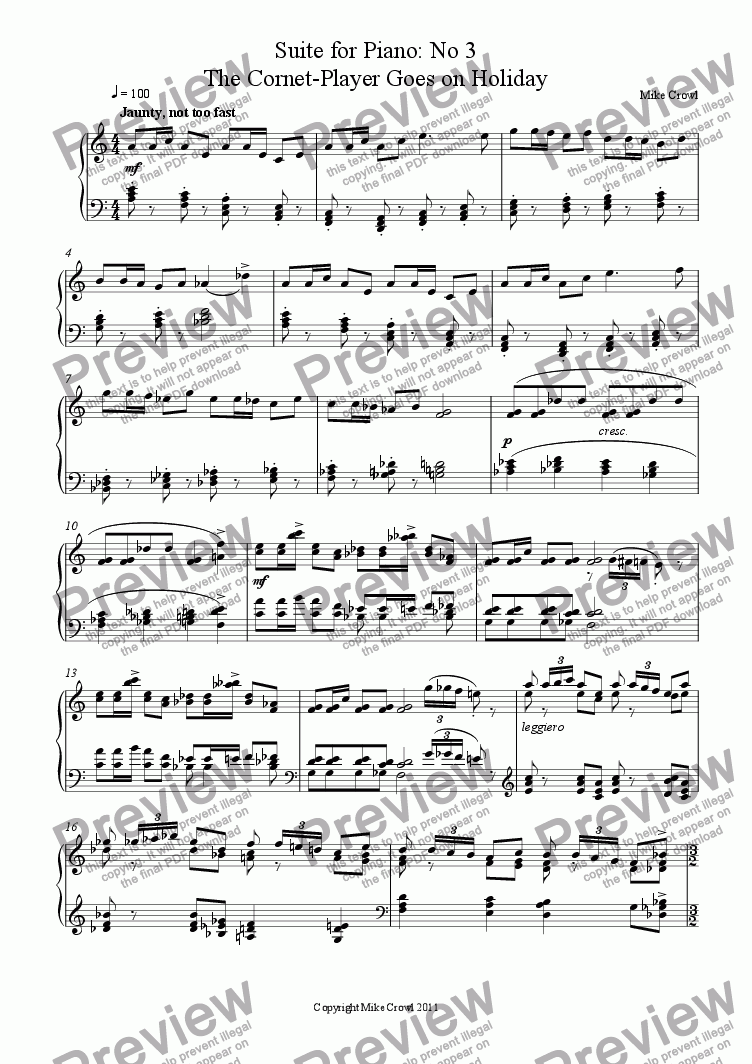 page one of Suite for Piano: No 3 The Cornet-Player Goes on Holiday