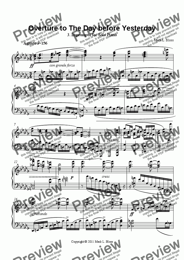 page one of 3. Impromptu - Overture to The Day before Yesterday