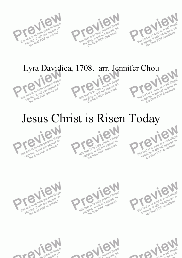page one of Jesus Christ is Risen Today with Descant
