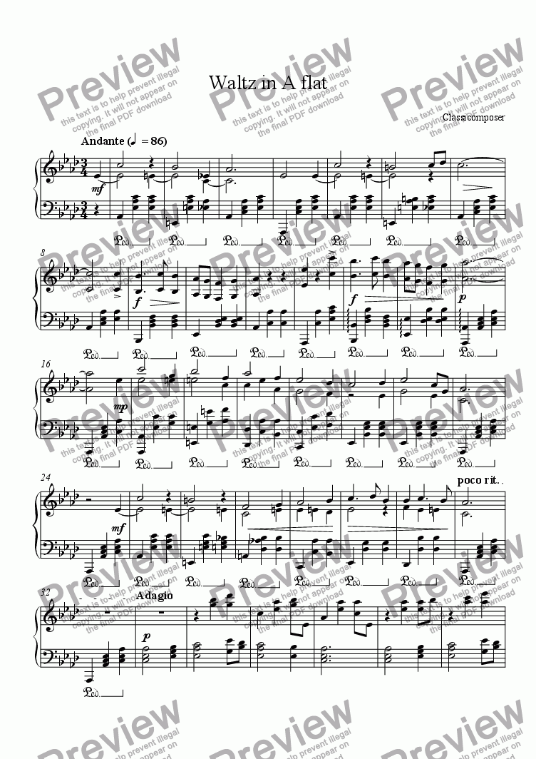 page one of Waltz in A flat