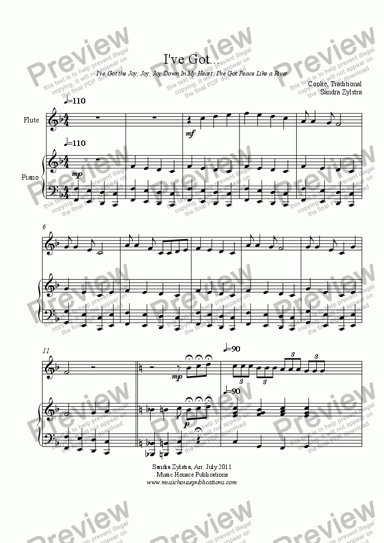 page one of I've Got . . . (solo instrument, piano)