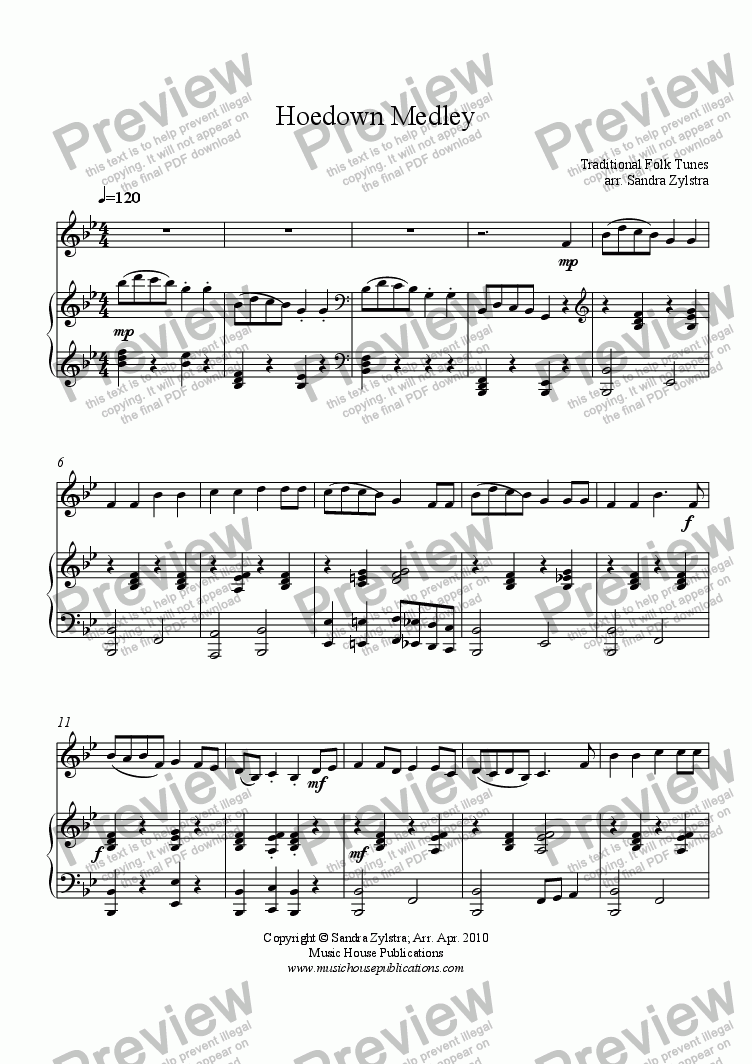 page one of Hoedown Medley (Solo Instrument & Piano)