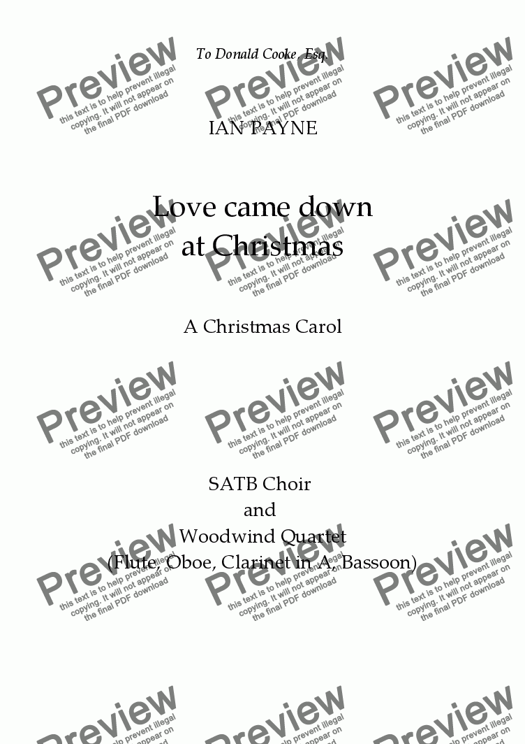 page one of Love came down at Christmas [with wind quartet]