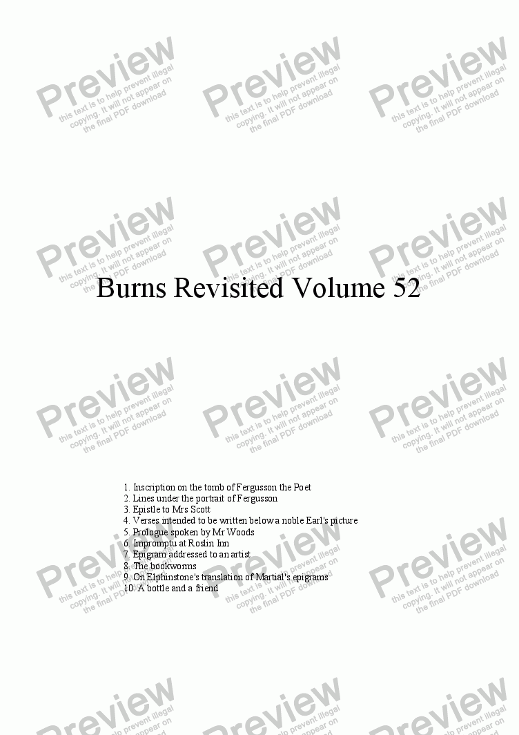 page one of Burns Revisited Volume 52