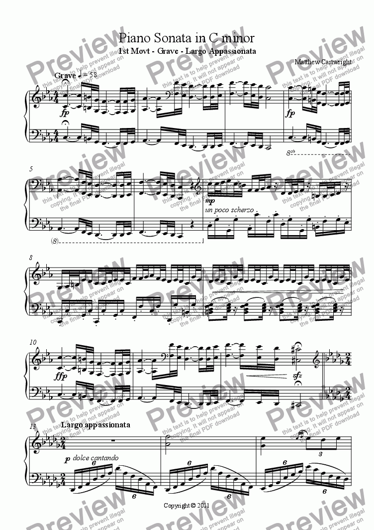 page one of Piano Sonata in C minor - 1st movt.