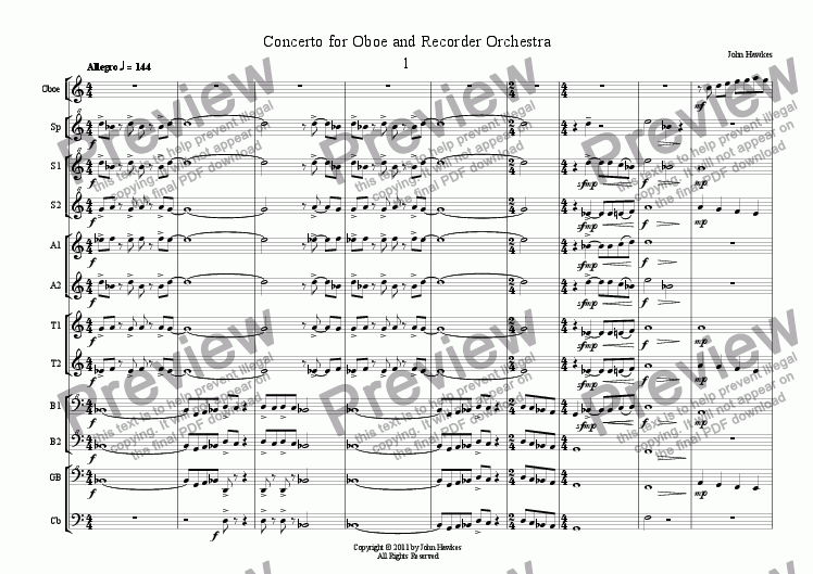 page one of Concerto for Oboe and Recorder Orchestra
