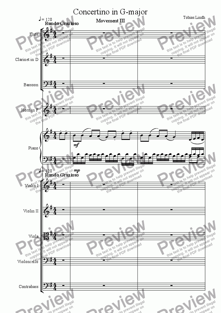 page one of Concertino in G-major Movement 3
