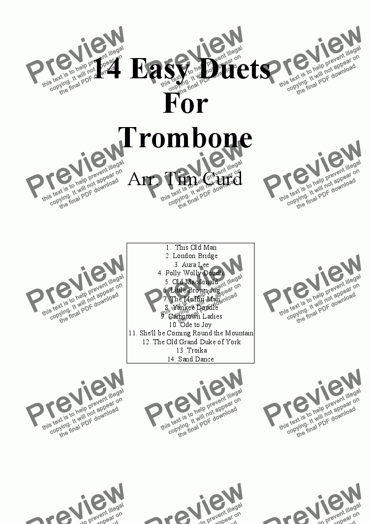 page one of 14 Easy Duets for Trombone