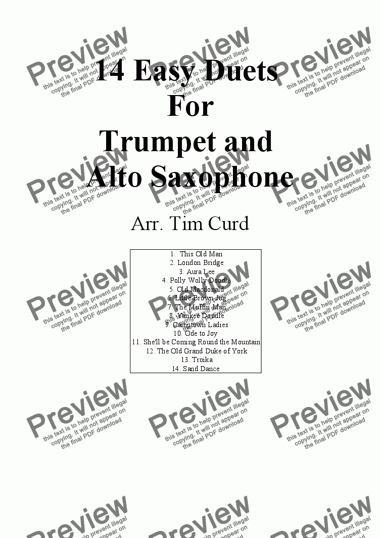 page one of 14 Easy Duets For Trumpet and Alto Saxophone
