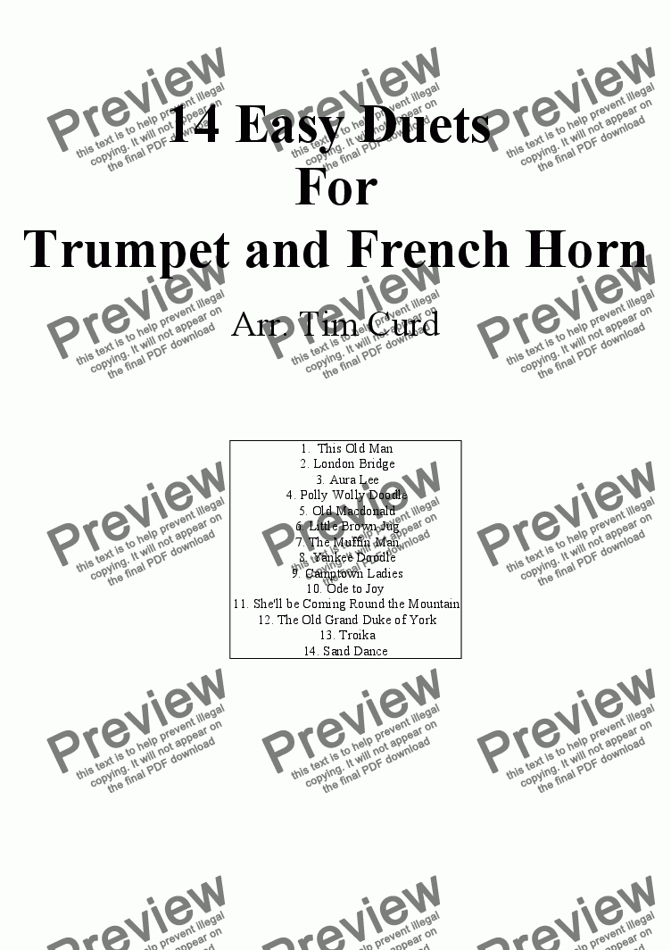 page one of 14 Easy Duets for Trumpet and French Horn