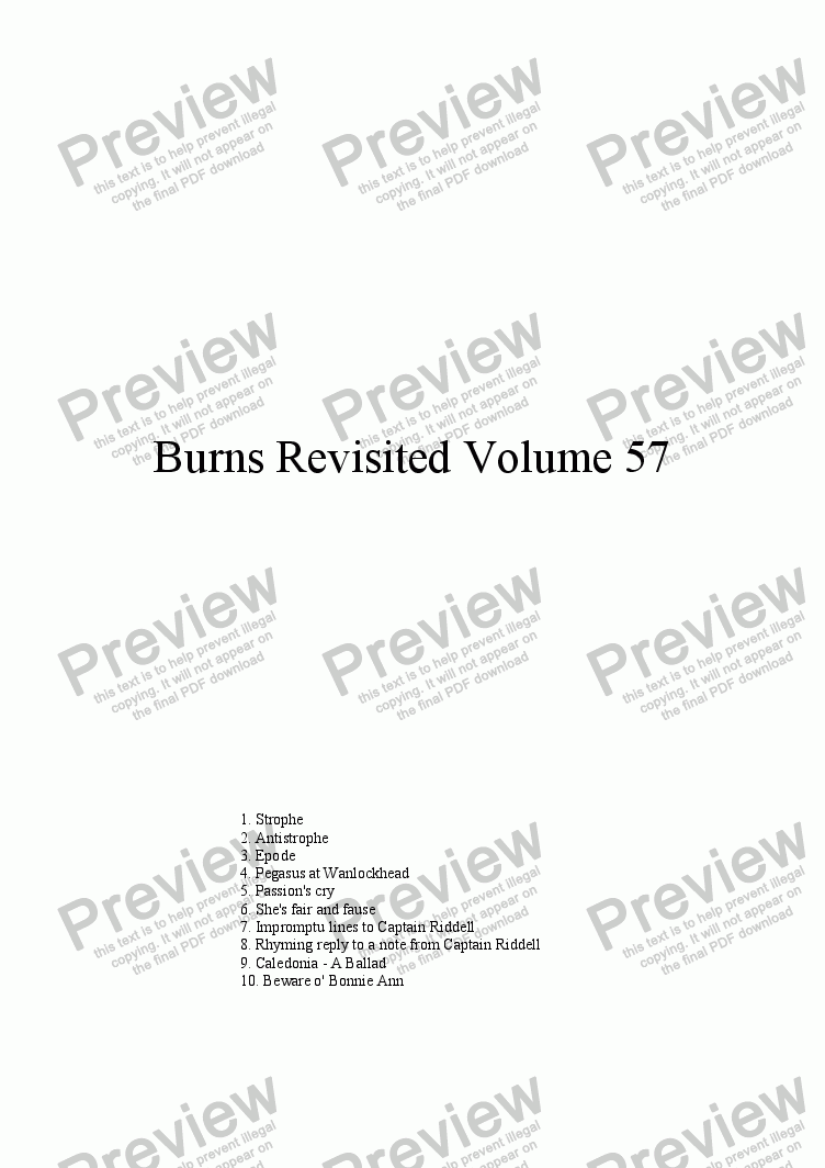 page one of Burns Revisited Volume 57
