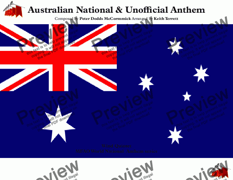 page one of Australian National Anthem (Advance Australia Fair) for Wind Quartet
