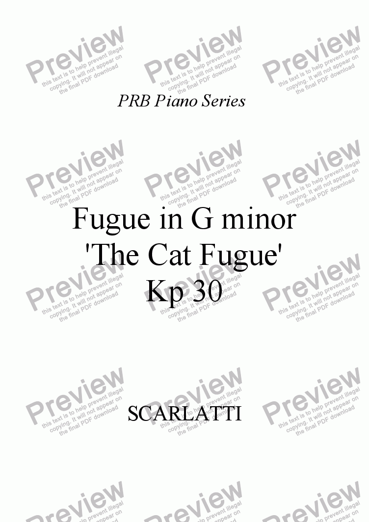 page one of PRB Piano Series: The Cat Fugue