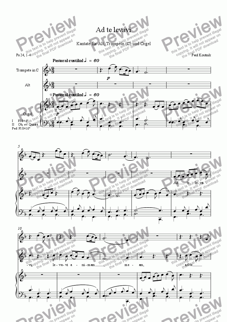 page one of Cantata 6: Advent Introitus 1, Ad te levavi for Alto, Trumpet(C) and OrganASALTTEXT