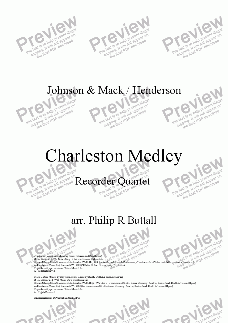 page one of Charleston Medley (Recorder Quartet)