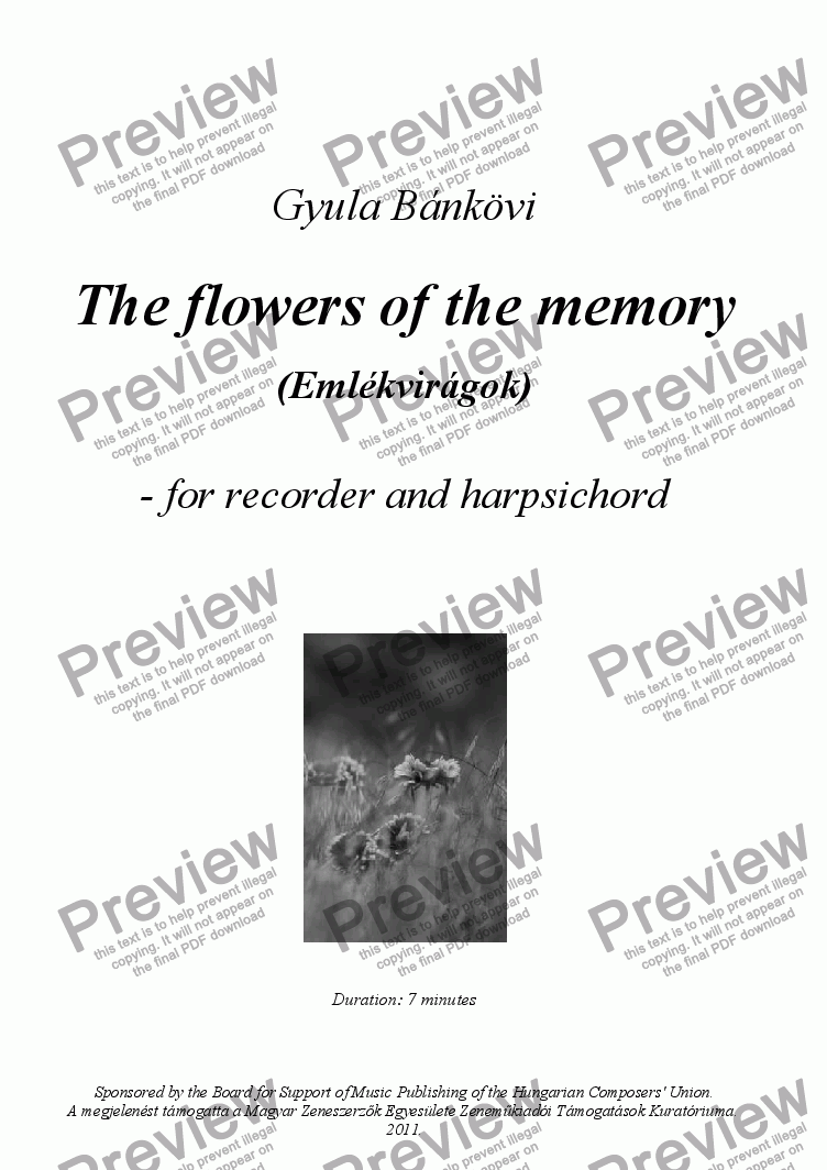 page one of The flowers of the memory