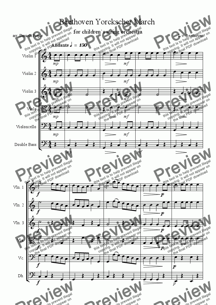 page one of Beethoven Yorckscher March  for children`s string orchestraASALTTEXT