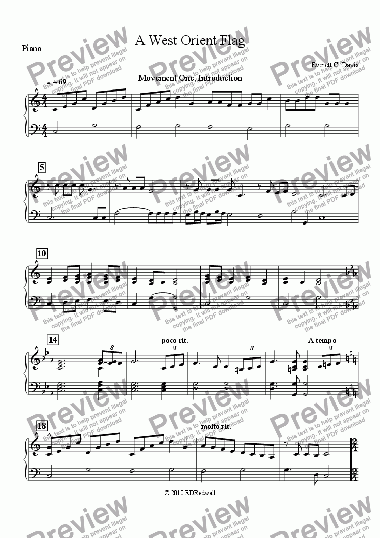 page one of A West Orient Flag: Piano